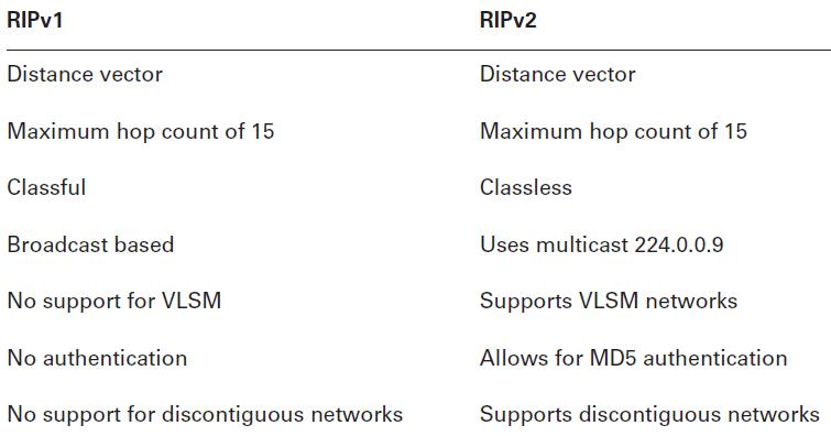 Difference in different versions of RIP (Distance-Vector Routing Protocol)
