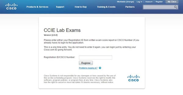 ccie lab exam Registration ID/CSCO Number