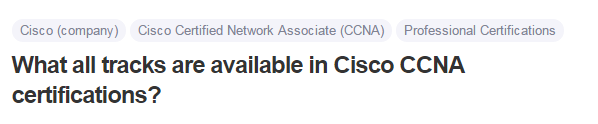 What all tracks are available in Cisco CCNA certifications