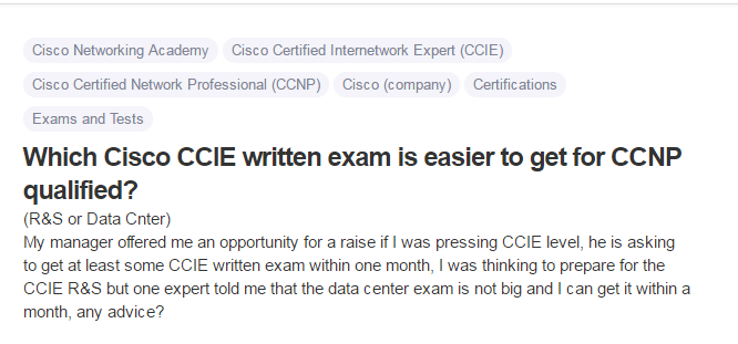 Which Cisco CCIE written exam is easier to get for CCNP qualified