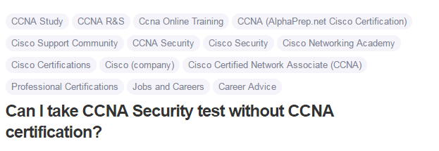 Can I take CCNA Security test without CCNA certification