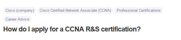 How do I apply for a CCNA R&S certification