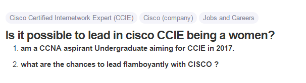 Is it possible to lead in cisco CCIE being a women