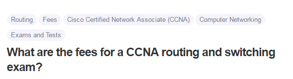 What are the fees for a CCNA routing and switching exam