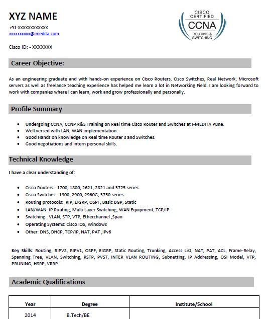 ccna resume template