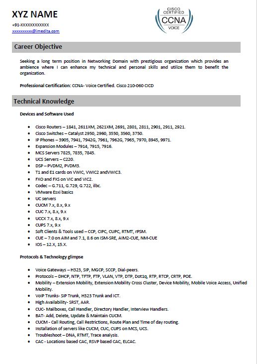Cisco Voip resume sample