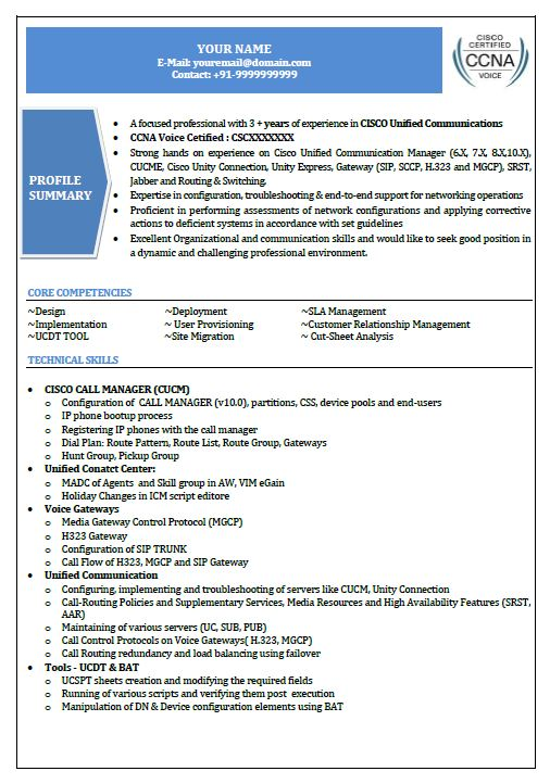 Cisco Voip resume sample2