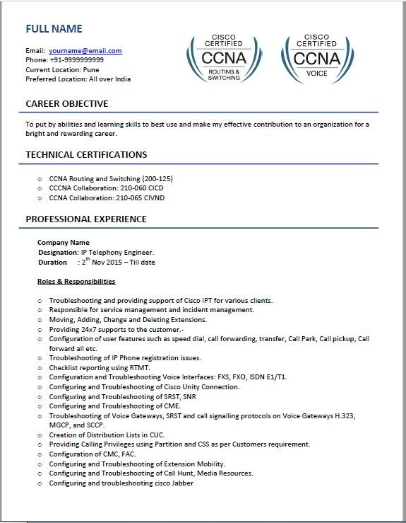 Cisco Voip resume sample4