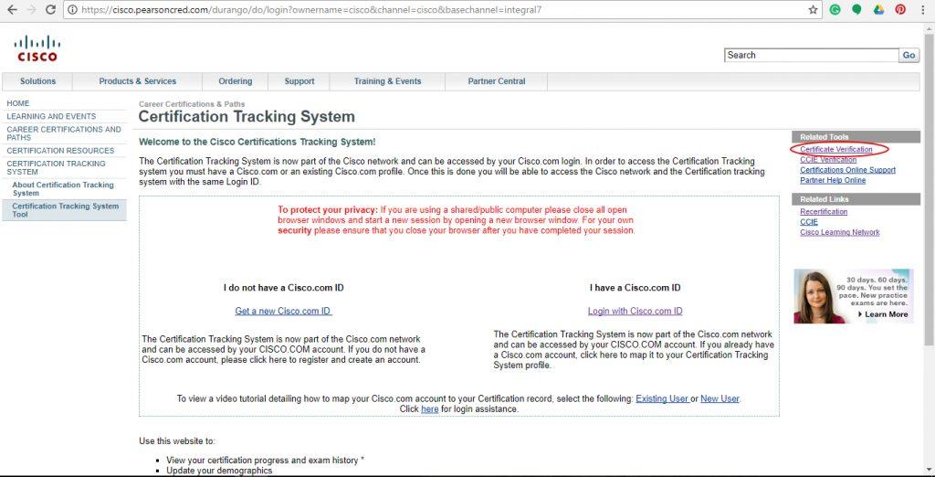 Cisco certification verification   Easy Steps to verify your